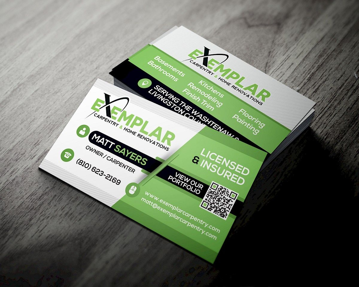 Ill create a unique and 100 custom business card for your business exemplar carpentry home renovations business card reheart Images
